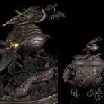 最上位作 超大作 松永武雄 蝋型鋳銅製 青銅古代龍巻 特大20kg 香炉 原型政義 高岡銅器
